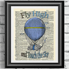 ART PRINT ON ANTIQUE DICTIONARY BOOK PAGE Nursery Baby Elephant Air Balloon blue