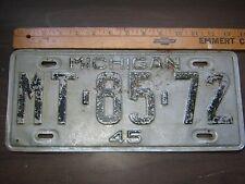 LICENCE PLATE 1945 45 MICHIGAN MT-85-72 HISTORIC HISTORY VINTAGE ANTIQUE MI