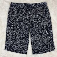 Tommy Hilfiger Womens Shorts Size 4 Floral Print Bermuda Black White Casual