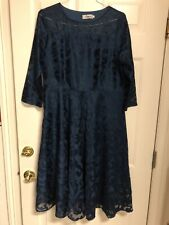 Party Dress - Lace 3/4 Sleeve Fit & Flare by Yiso -  in Dark Teal 2XL