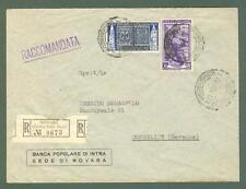 Storia postale. REPUBBLICA ITALIANA. Lettera raccomandata del 20.9.1952.