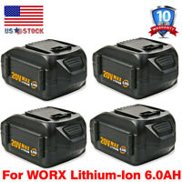 For WORX 20V MAX Extend Battery WA3520 WA3525 WA3575 WG155 6.0Ah Lithium Tools