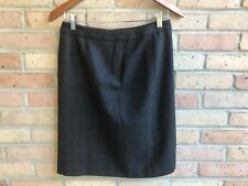 Ann Taylor Womens Dark Gray 100% Wool Pencil Button Front Skirt - size 2P - EUC