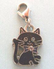 charms argentée chat noir