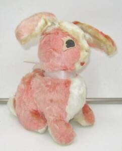 Vintage Stuffed Pink White Bunny Rushton Company Felt Eyes Tongue Spring Easter