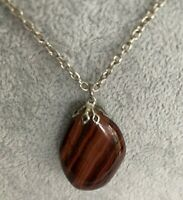Vintage Jewellery Pendant Red Tigers Eye Gemstone  Long Chain Power Courage
