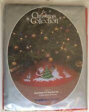 Vtg Paragon Applique Felt Tree Skirt Kit Christmas Fun 1985 Santa Snowmen #6171