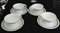 Hook Cups Saucers Set of 4 Corelle CRAZY DAISY GREEN Corning Ware SPRING BLOSSOM