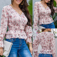 Womens Floral Print V Neck Frill Blouse Long Sleeve Vintage Casual Shirts Tops