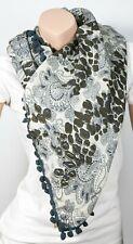 "Tolani 131 Wool Leopard Paisley Scarf Grey/Black 40"" x 40"""