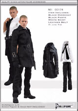 "DOLLSFIGURE 1/6 Cool Men Black Windbreaker Shirt Pants Overcoat Set For 12"" Body"