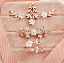 Sterling Silver 925 Mother Of Pearl CZ  Magnolia Blossom Set ROSE Gold Plated