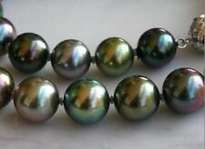 "18""AAA 11-12MM GENUINE NATURAL TAHITIAN BLACK ROUND PEACOCK PEARL NECKLACE"