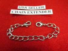 "5"" 14 kt WHITE GOLD EP DOUBLE LOBSTER CLAW  CHAIN BRACELET NECKLACE EXTENDER"