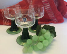 ZWIESEL  Ribbed Green Stem  Cordial/Wine Glasses ~ Etched Grapes 4 oz
