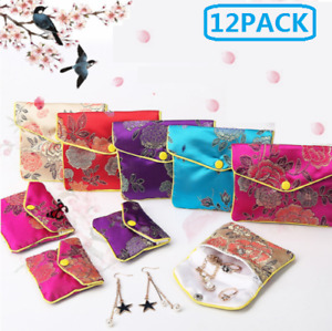 3 Colors Silk Chinese Pattern Classic Jewelry Pouches Gift Bags Party Favors USA