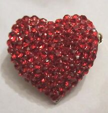 ** RED RHINESTONE & ENAMEL HEART BROOCH PIN PERFECT FOR VALENTINE'S DAY **