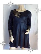 B - Magnifique Robe Tunique Bleu Nuit Dentelle Mod. Wang Lauren Vidal Taille 38