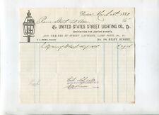 Vintage Billhead UNITED STATES STREET LIGHTING Boston 1882 street lanterns lamps