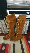 Minnetonka Hippie Boho Suede Lace Suede Boots With Tassels