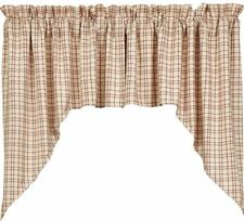 Lined Window Swag Set Country Farmhouse Style Tacoma Cream Red Green Plaid