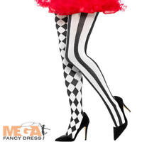 Harlequin Tights Ladies Halloween Fancy Dress Clown Circus Medieval Costume Acc