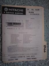 Hitachi d-e33 service manual original repair book stereo deck tape player