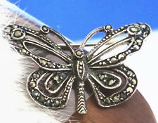 Gorgeous Sterling Silver 925 hand set Marcasite stone Butterfly Brooch 3.8g