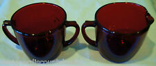 Early 1900's Vintage Depression Era Glass – Ruby Red Sugar Bowl and Creamer