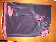 Uilleann bag cover Navy velveteen burgundy loop brush fringe