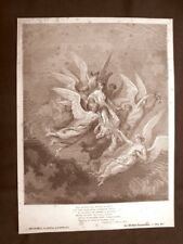 Incisione Gustave Dorè 1890 Beatrice scende dal cielo Divina Commedia Purgatorio