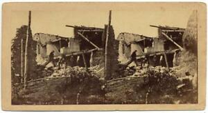 A. Bernoud 1857 Basilicata earthquake Very rare unpublished Stereo card S1040