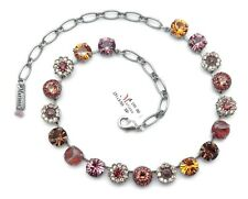 Mariana 1018 Dream Purple Brown Mix Swarovski Crystal Silver Plated Necklace NWT