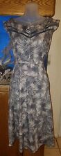Vintage Look  Feather Fabric Cotton Lace Insert Tea Dress Size S/M