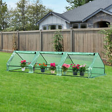 Outsunny Outdoor PE&Steel Greenhouse Plant Cover w/Zipper 400 x 100 x 80CM Green