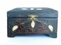 Vintage Antique Old Hand Made Wooden Wood Mother of Pearl Trinket Jewelry Box