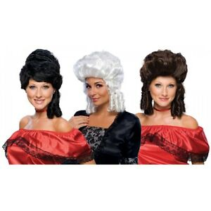 Colonial Lady Costume Wig Adult Womens White Or Brunettte Betsy Ross Halloween
