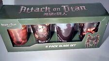 Attack on Titan PINT Bar Glass Set Of 4 NIB pint barware manga design