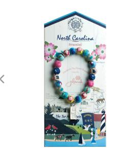 NEW JILZARAH Handmade Clay Beads DESTINATION NORTH CAROLINA 8mm Bracelet