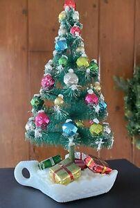 Vintage MERCURY GLASS Bead BOTTLE BRUSH Tree & MILK GLASS Candle Holder DISPLAY
