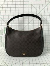 Coach F29209 Zip Shoulder Bag in Signature Coated Canvas Black Brown