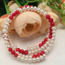 Freshwater Cultured White Red Pearl Bangle Chain Bracelets Jewley Gift