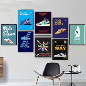 Vintage Retro Old Adidas Casual Trainers Sport Print Poster Wall Art Picture A4+