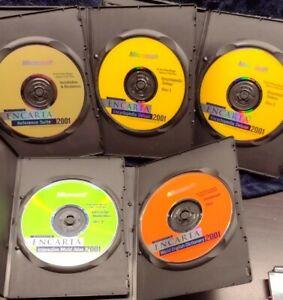 5 CD Disc Set Microsoft Encarta 2001 Encyclopedia Deluxe Atlas Dictionary