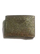 KATE SPADE Gold Glitter Card Case Wallet