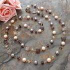 58%22+Multi+Color+Sea+Shell+Pearl+Crystal+Long+Necklace