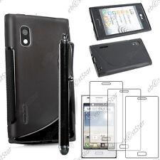 Housse Etui Coque Silicone S-line Noir LG Optimus L5 E610 + Stylet + 3 Films