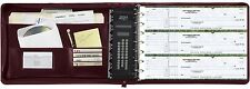 7 Ring Business Check Binder 3-on-a-page Vinyl Book Zipper Leather Look Burgundy