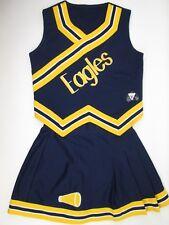 "EAGLES Cheerleader Uniform Outfit 38"" Top 28 Skirt Navy Blue Gold Youth 3XL XXXL"