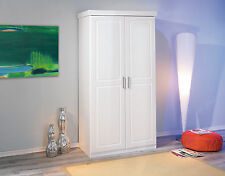 Armoire penderie dressing rangement chambre moderne 2 portes pin massif BLANC